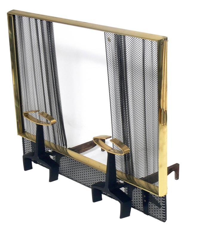 Mid-Century Modern Modernist Brass and Iron Andirons Fire Tools and Screen by Donald Deskey For Sale