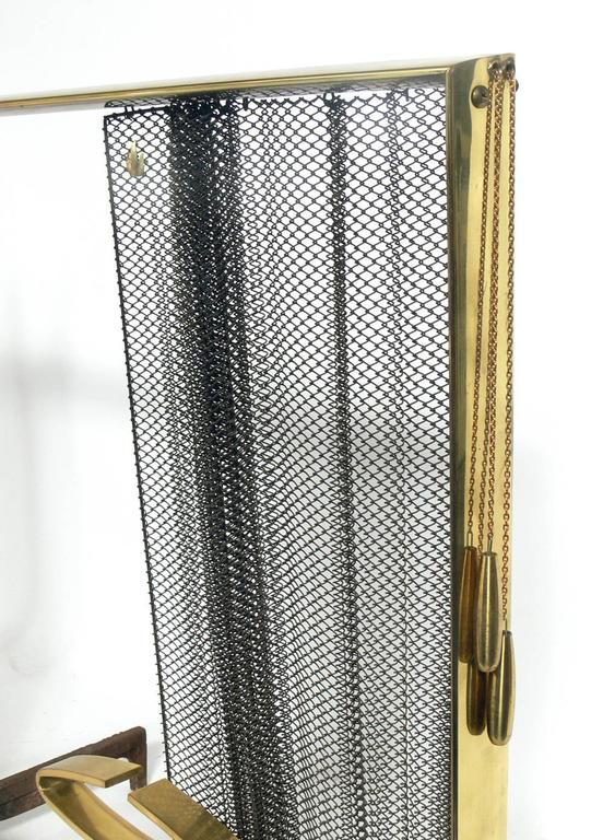 American Modernist Brass and Iron Andirons Fire Tools and Screen by Donald Deskey For Sale