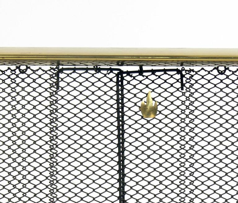 Mid-20th Century Modernist Brass and Iron Andirons Fire Tools and Screen by Donald Deskey For Sale