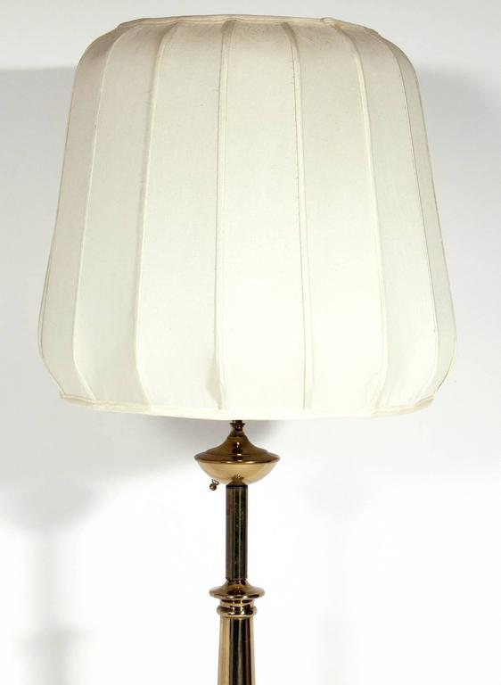 Asian Influenced Brass Floor Lamp With Original Silk Shade