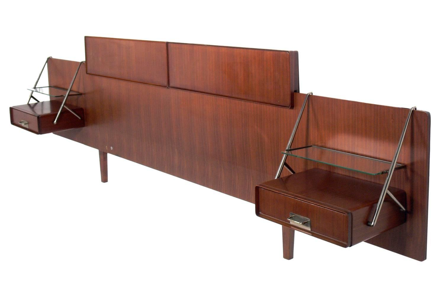 Silvio Cavatorta Rosewood Headboard with Floating Nightstands For Sale at 1stdibs
