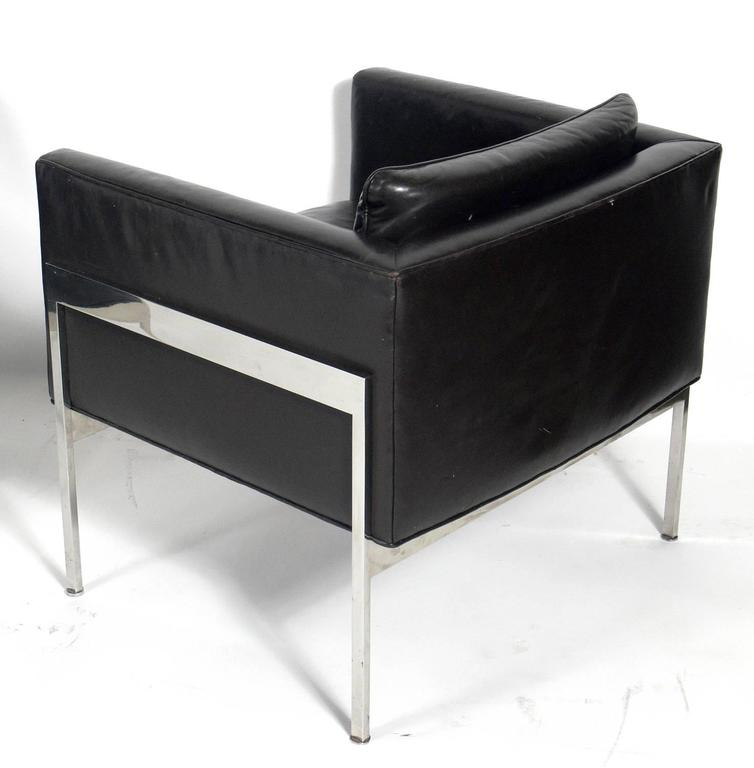 pair of chrome and leather cube chairs attributed to harvey probber