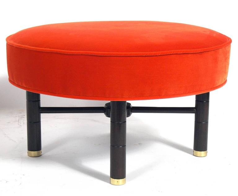 Modern Heirloom Tomato Orange Velvet Ottoman With Brass Feet American Circa 1950s This