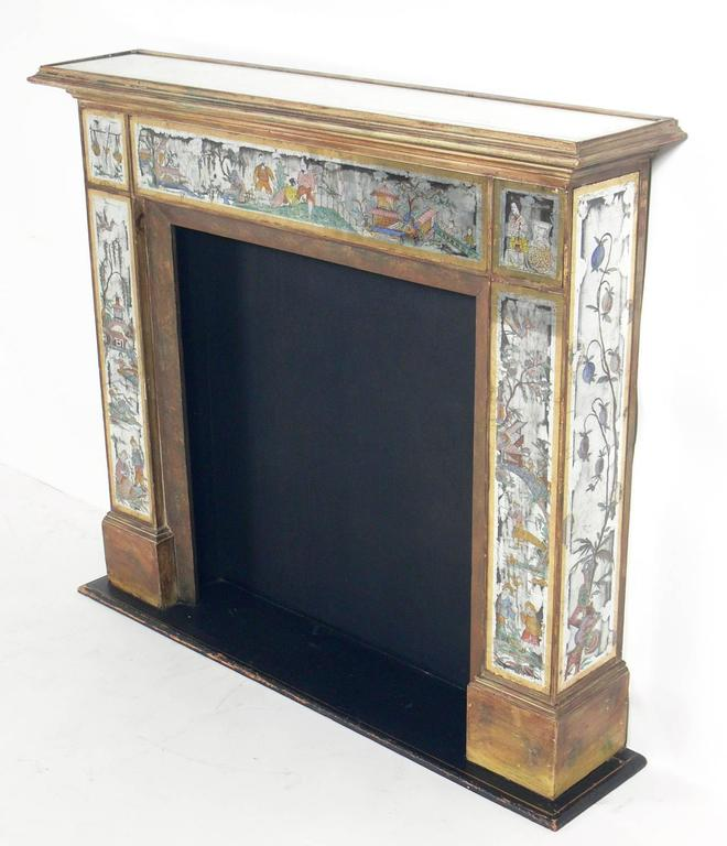 Fireplace Design regency fireplace dealers : Hollywood Regency 1930s Mirrored Fireplace Mantel with Asian ...