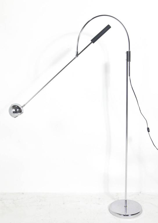 American Chrome Orbit Floor Lamp by Robert Sonneman For Sale