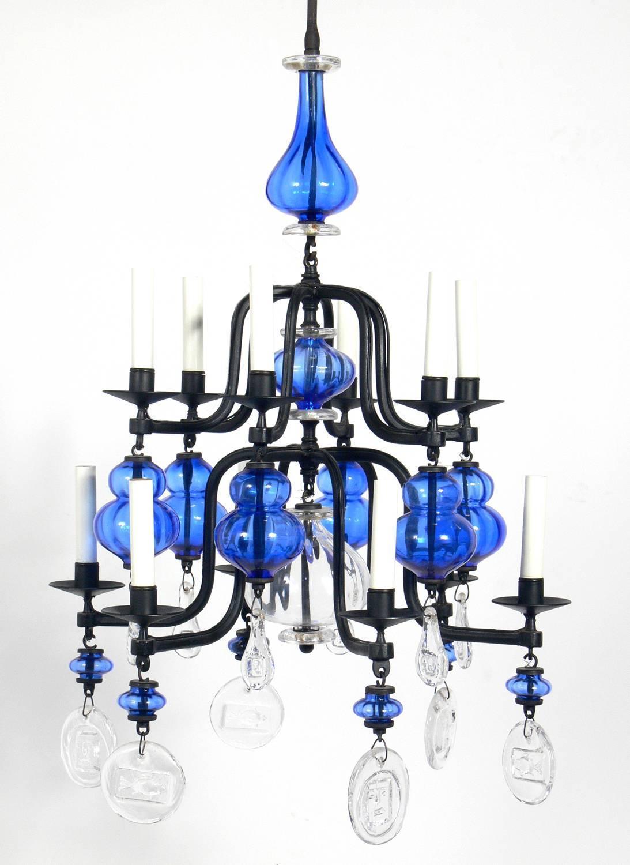 Colorful Danish Modern Glass Chandelier by Erik Hoglund ...