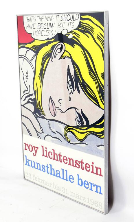 Vintage screenprint poster for Roy Lichtenstein's 1968 exhibition at Kunsthalle, Bern depicting the painting