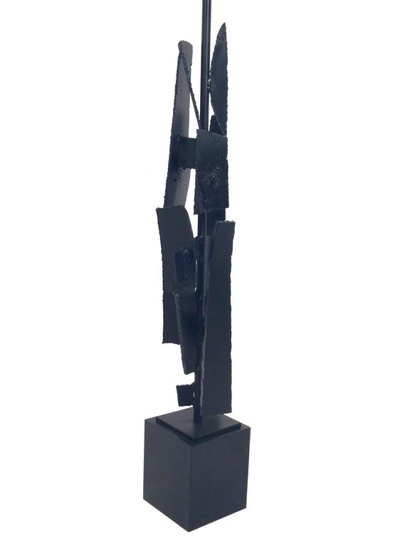 Brutalist Sculptural Iron Lamp by Richard Barr For Sale