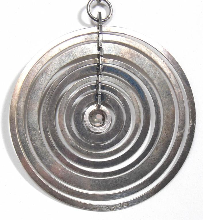 Finnish Sculptural Sterling Silver Pendant by Tapio Wirkkala  For Sale