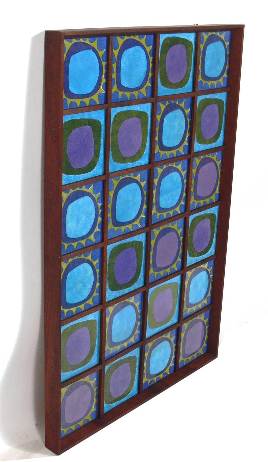 Colorful Mid Century Modern Tile Plaque For Sale At 1stdibs