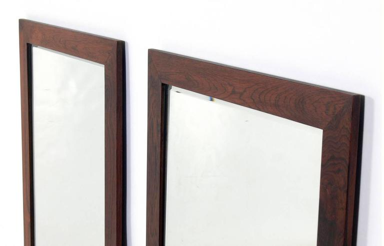Mid-Century Modern Pair of Danish Modern Rosewood Mirrors For Sale