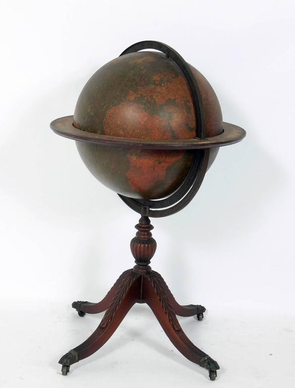 Campaign Antique Library Globe For Sale
