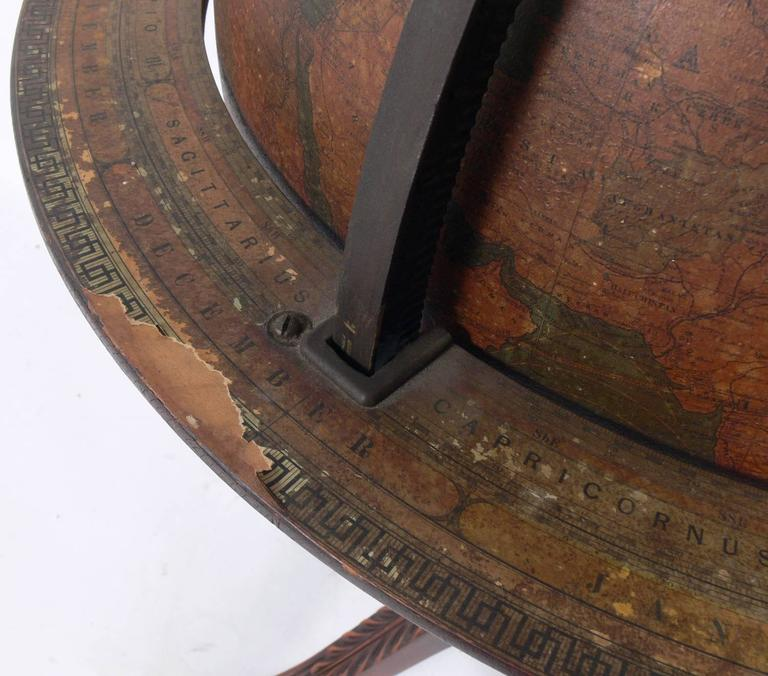 Antique Library Globe In Distressed Condition For Sale In Atlanta, GA