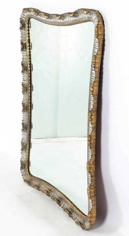 Silver and Gold Leafed Venetian Scalloped Mirror 2