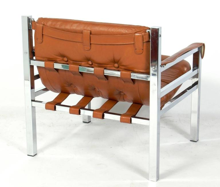 Clean Lined Cognac Leather And Chrome Lounge Chair, Circa 1960s. It Retains  Its Original