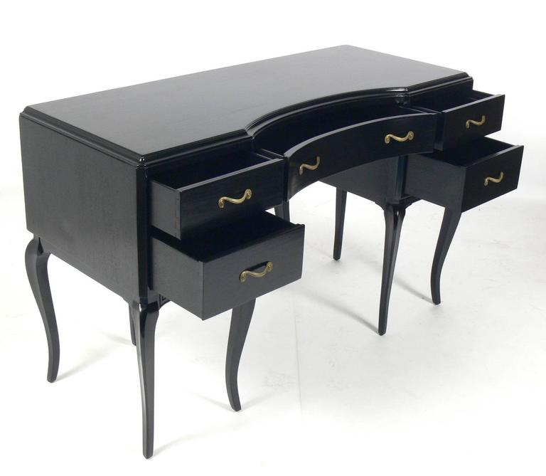 Fantastic Glamorous French Black Lacquer Desk And Chair At 1Stdibs Onthecornerstone Fun Painted Chair Ideas Images Onthecornerstoneorg