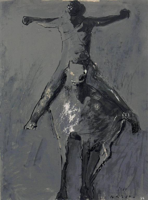 Pair of horse and rider lithographs by Marino Marini, from the Marino Marini portfolio, printed by Carl Schunemann, Germany, circa 1968. They have been framed in clean lined black lacquer gallery frames.