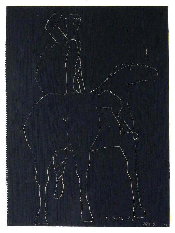 German Pair of Horse and Rider Lithographs by Marino Marini For Sale