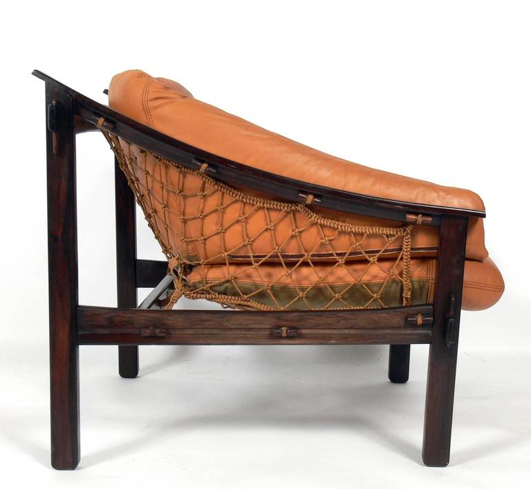 Mid Century Modern Exotic Jacaranda And Leather Brazilian Lounge Chair By  Jean Gillon For Sale