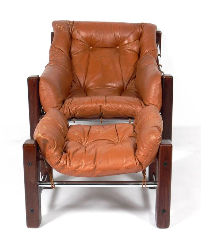 exotic rosewood and leather brazilian lounge chair and ottoman by