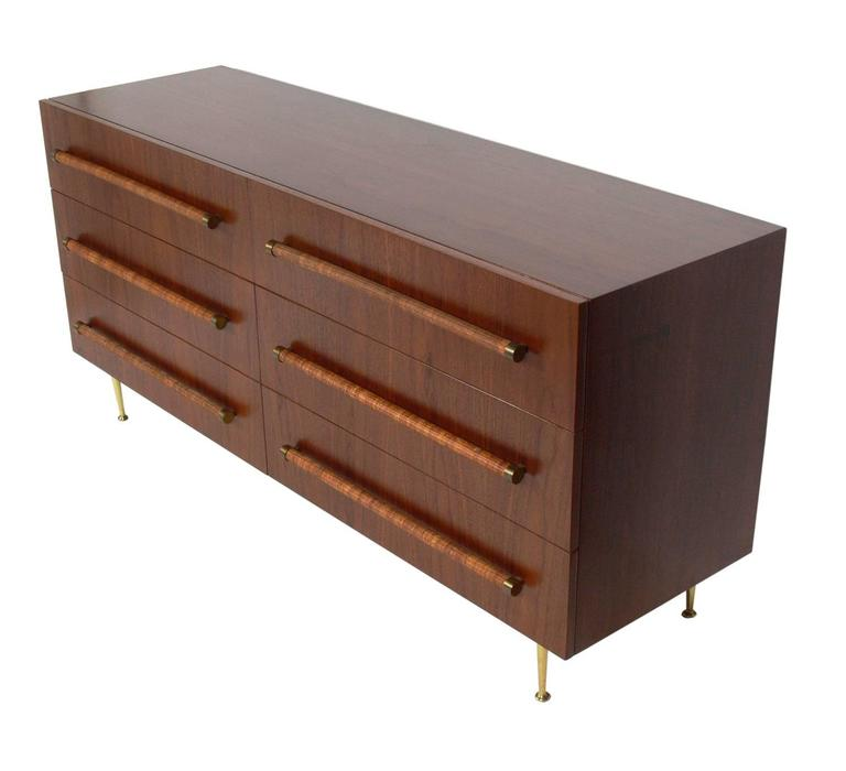 Elegant Modern Chest With Reed Wrapped Handles By T H