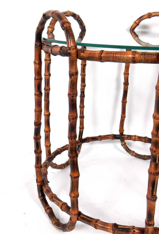 French Elegant Bamboo Side Table in the Manner of Jacques Adnet For Sale