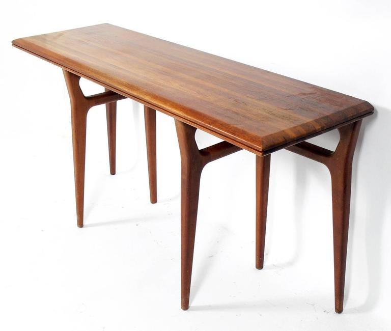 Modernist Italian Flip Top Console Table Possibly In The Manner Of Gio Ponti For