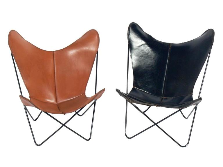 Sculptural Leather Butterfly Chairs Designed By Jorge Ferrari Hardoy,  American, Circa 1960s.