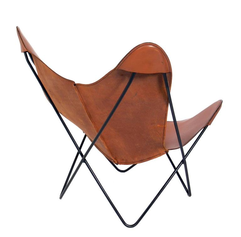 American Sculptural Leather Butterfly Chairs Designed By Jorge  Ferrari Hardoy For Sale