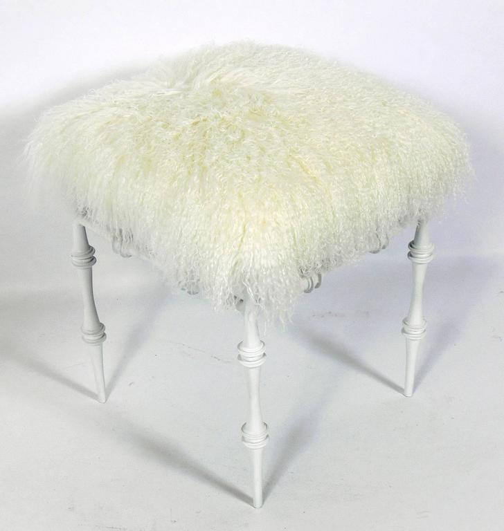 Sculptural modernist stool in Mongolian wool, American, circa 1950s. It has been repainted and reupholstered in luxuriously soft Mongolian wool.