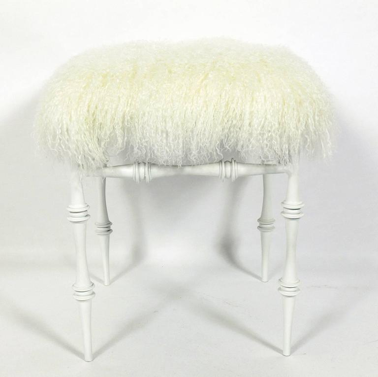 Mid-Century Modern Sculptural Modernist Stool in Mongolian Wool For Sale