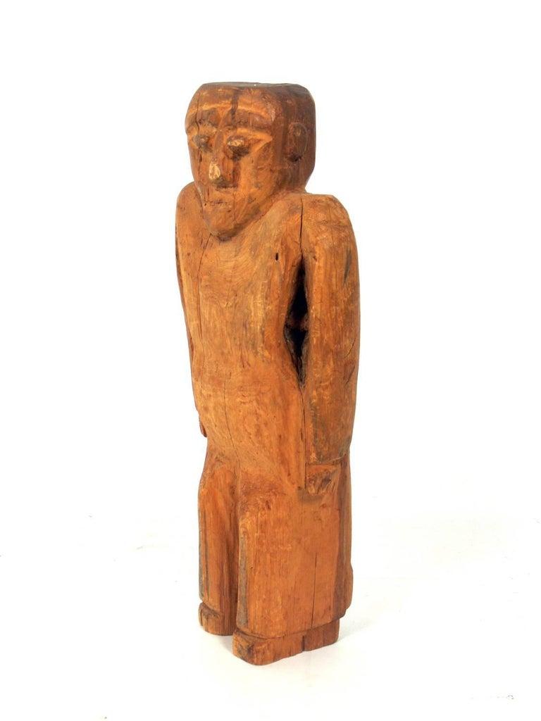 American Hand-Carved Folk Art Man Sculpture For Sale