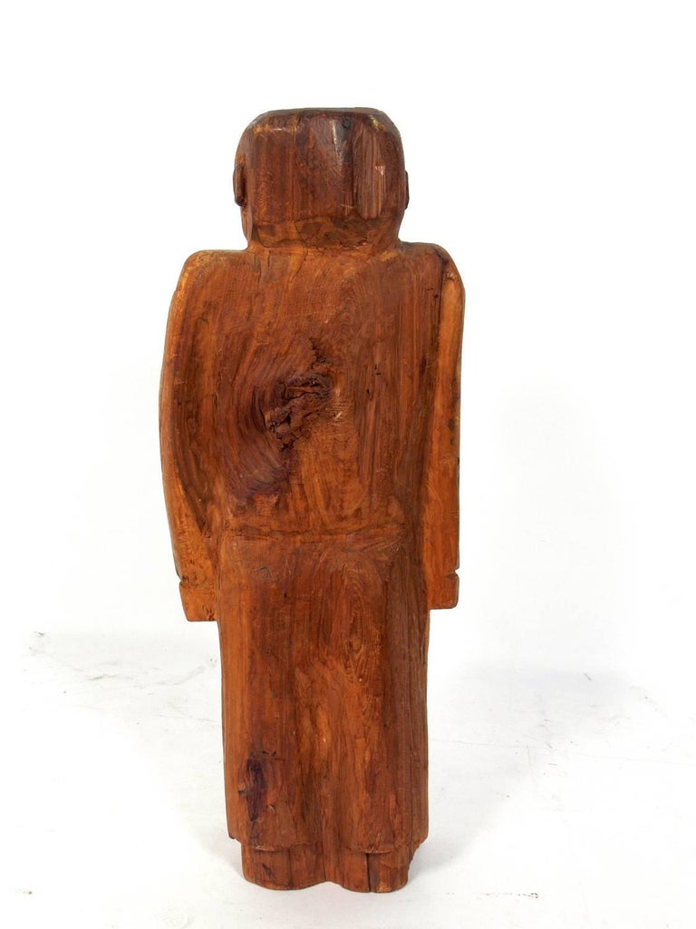 Hand-Carved Folk Art Man Sculpture In Good Condition For Sale In Atlanta, GA