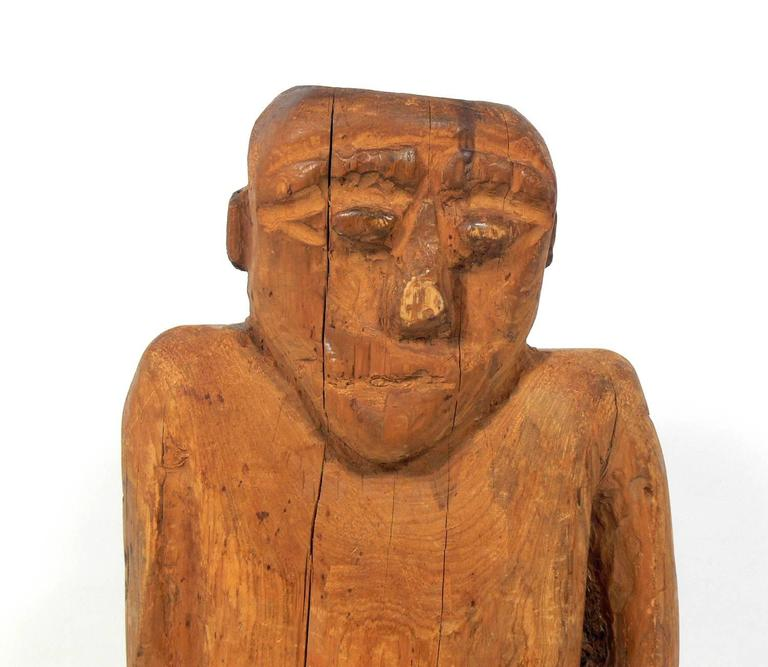 Mid-20th Century Hand-Carved Folk Art Man Sculpture For Sale