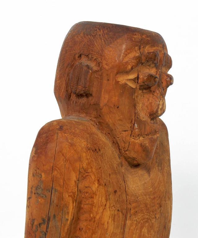 Wood Hand-Carved Folk Art Man Sculpture For Sale
