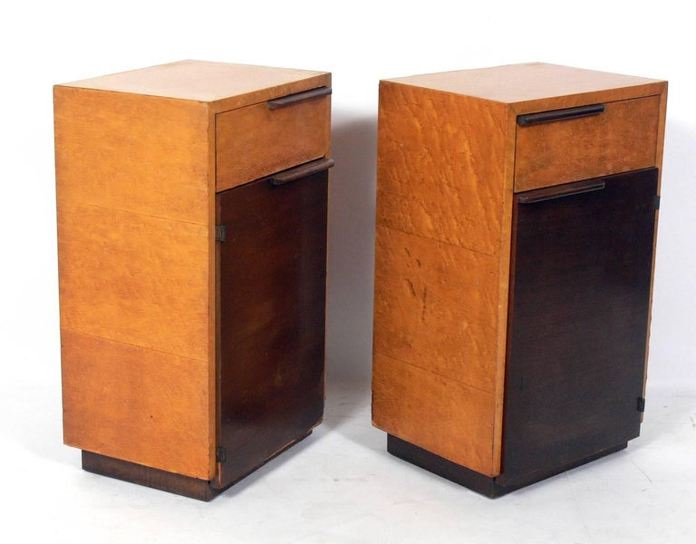 Pair of Art Deco nightstands, designed by Gilbert Rohde for Herman Miller, American, circa 1930s. They are a versatile size and can be used as nightstands, or as side or end tables. They are currently being refinished. The price noted below includes