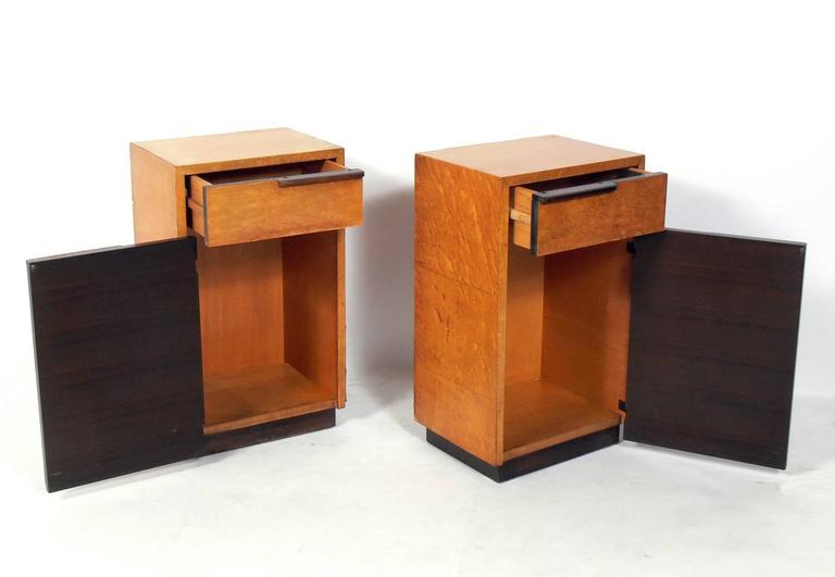 American Pair of Art Deco Nightstands by Gilbert Rohde For Sale