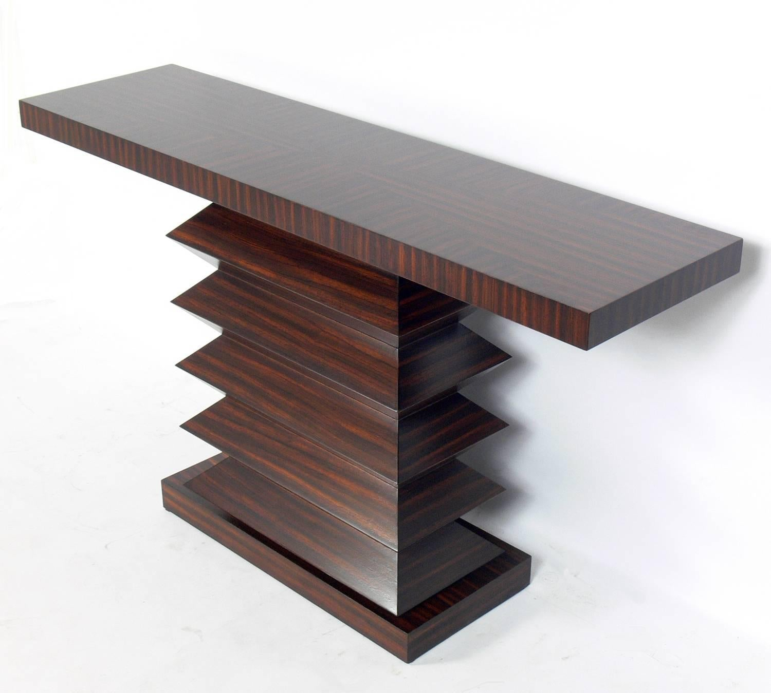 Delicieux Sculptural Zebra Wood Console Table, American, Circa 1990s. Beautifully  Bookmatched Wood With Incredible