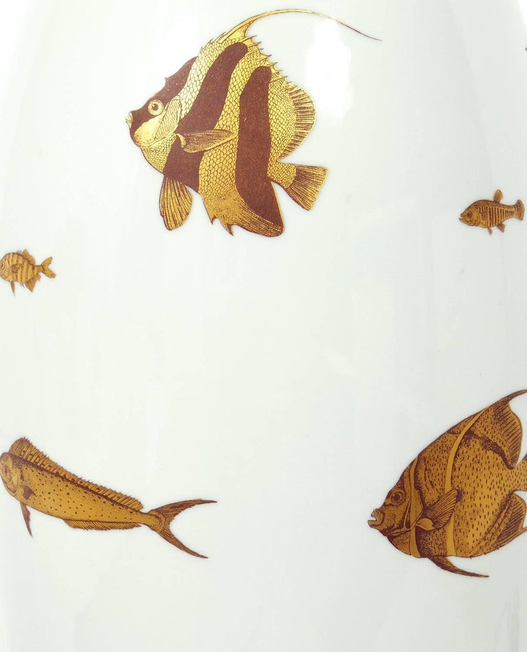 White And Gold Porcelain Fish Lamp For Sale At 1stdibs