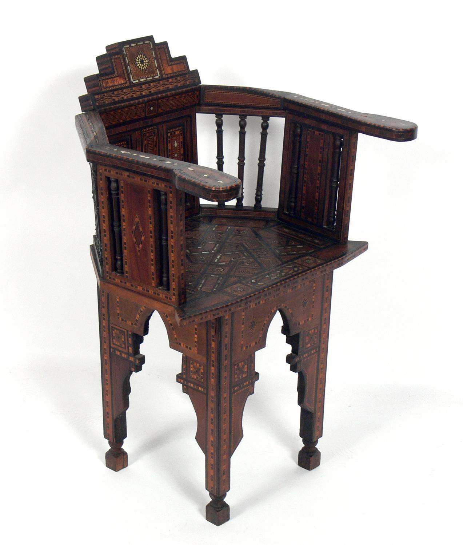 Inlaid Moroccan Chair, In The Manner Of Carlo Bugatti, Moroccan, Circa  1950s.