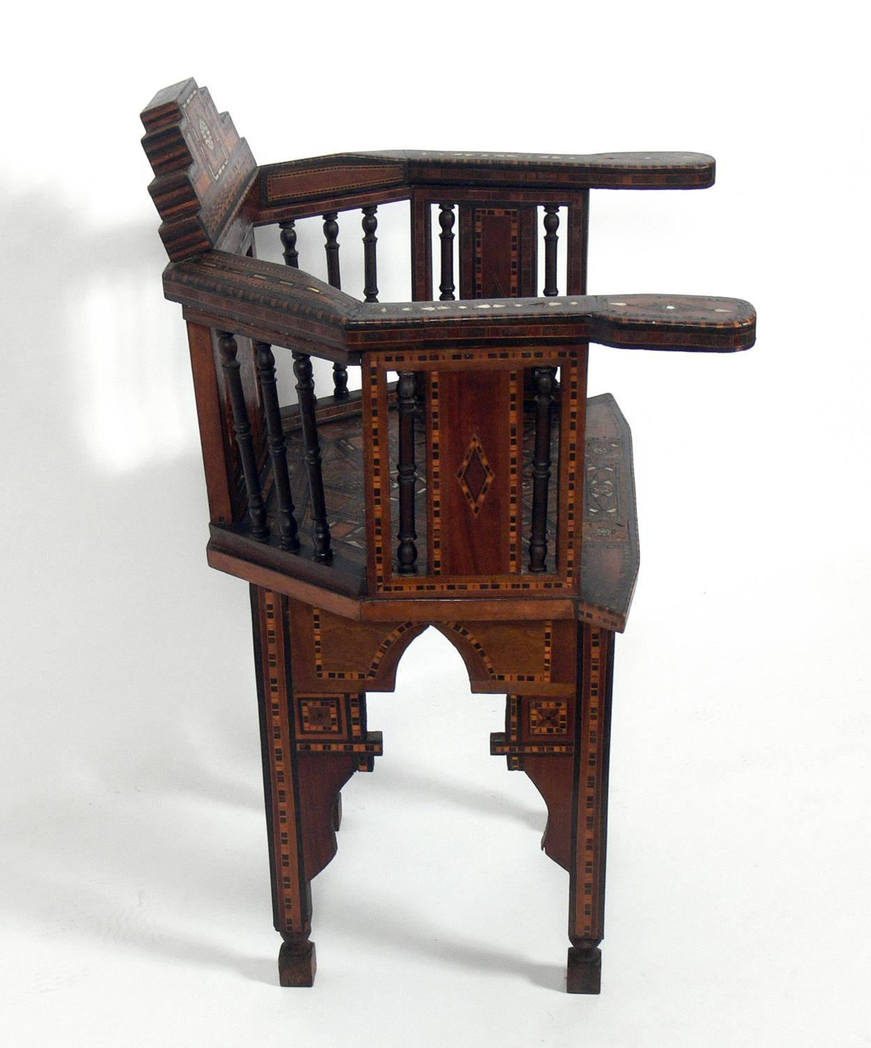Anglo-Indian Inlaid Moroccan Chair For Sale  sc 1 st  1stDibs & Inlaid Moroccan Chair at 1stdibs