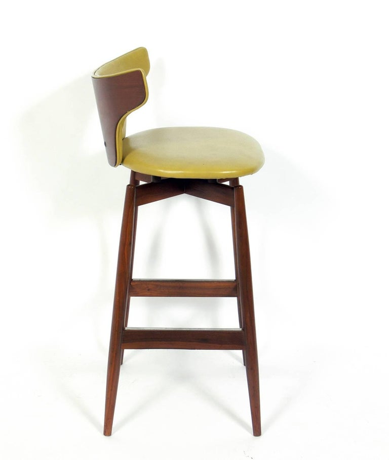 Set Of Three Curvaceous Walnut Modern Bar Stools For Sale
