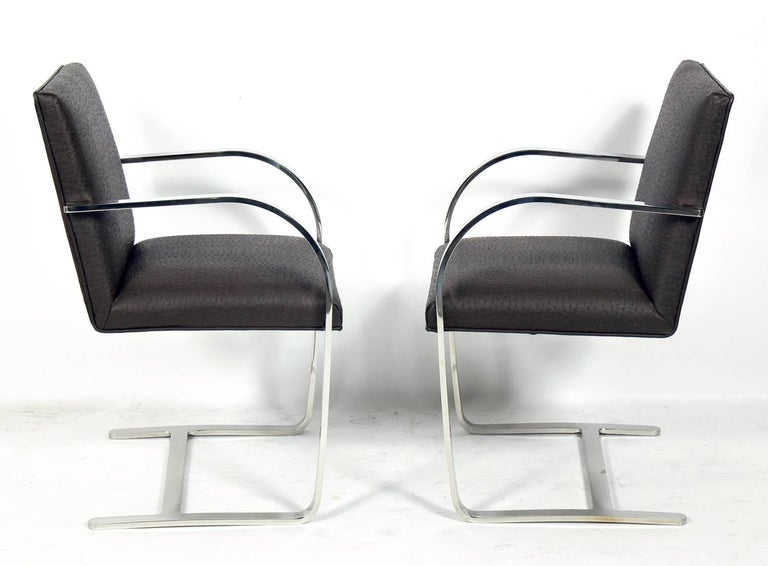 Mid-Century Modern Set of Four Brno Chrome Dining Chairs after Mies van der Rohe For Sale