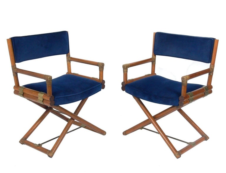 Pair of McGuire Campaign Style 'X' Base Lounge Chairs 2