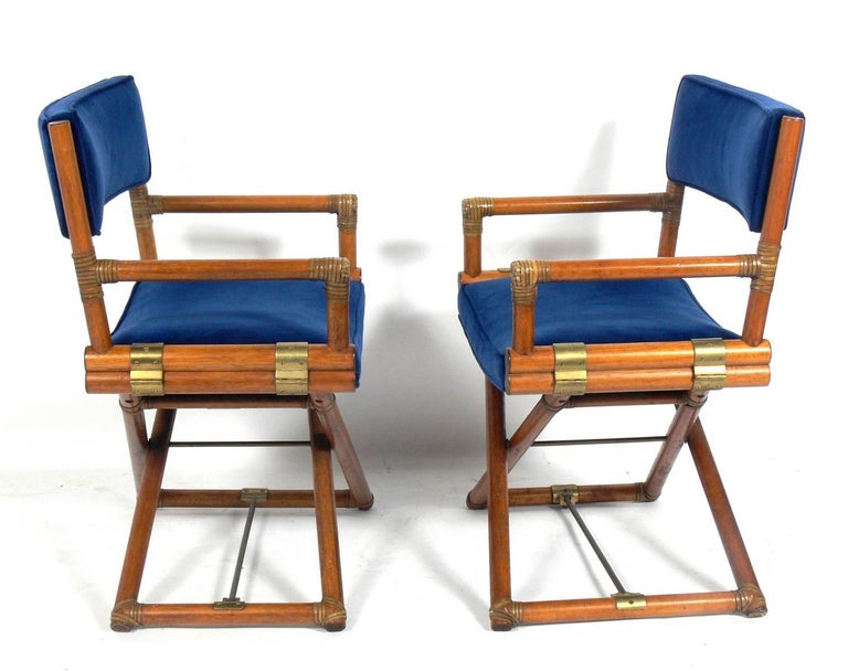 American Pair of McGuire Campaign Style 'X' Base Lounge Chairs For Sale