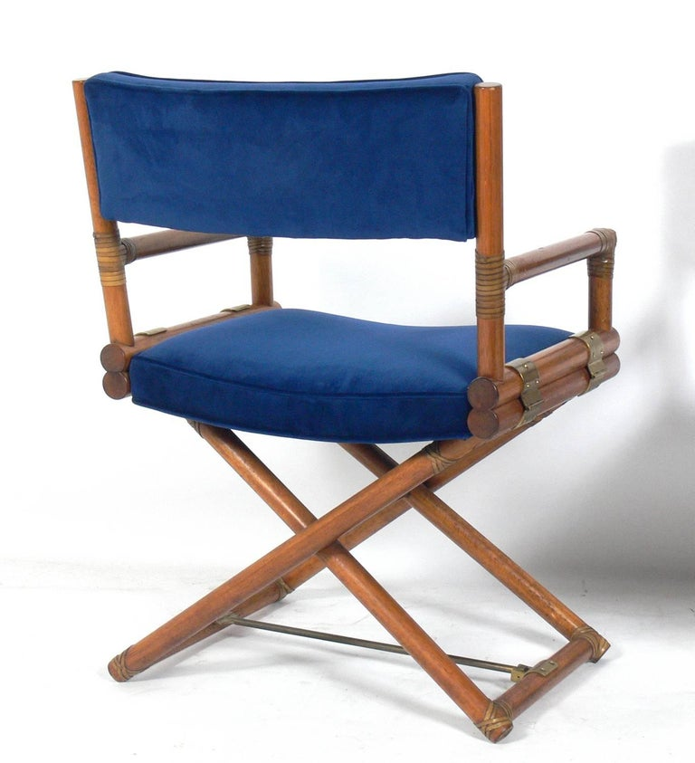 Pair of McGuire Campaign Style 'X' Base Lounge Chairs 4