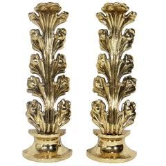 Brass Foliate Andirons