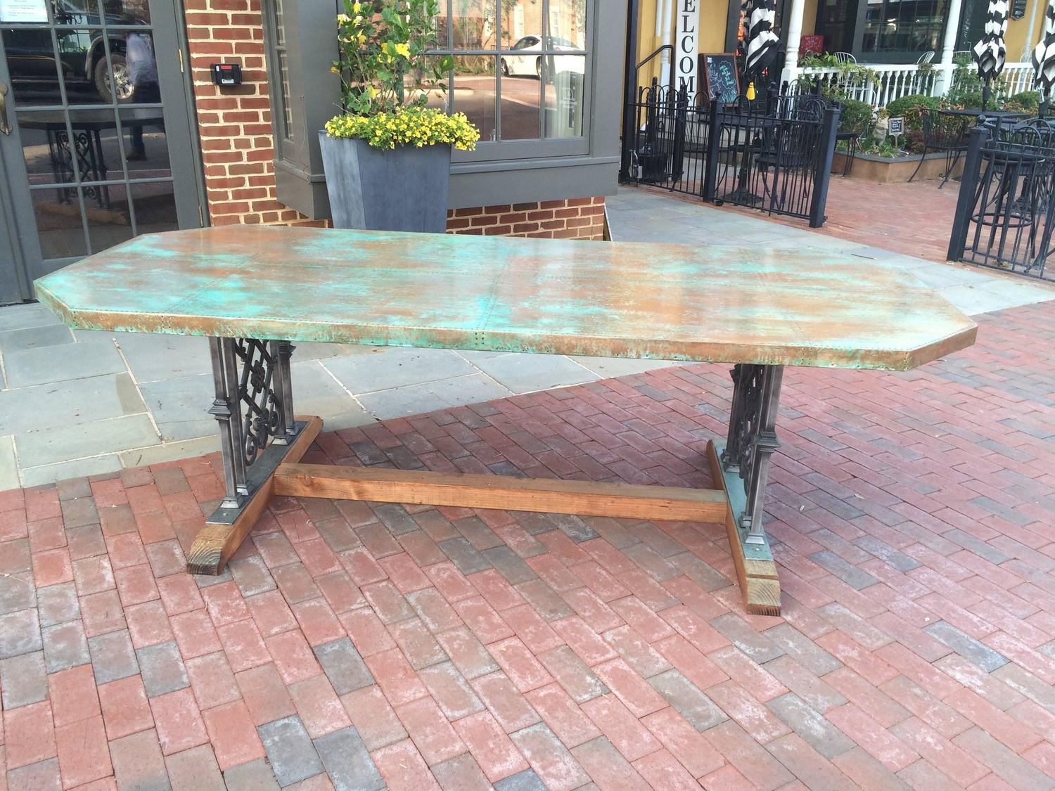 Custom Designed Copper Dining Table For Sale at 1stdibs
