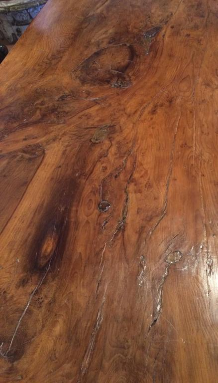 Extremely Rare Burled Yew Wood English Trestle Table The Top Made From One Extraordinary Figured