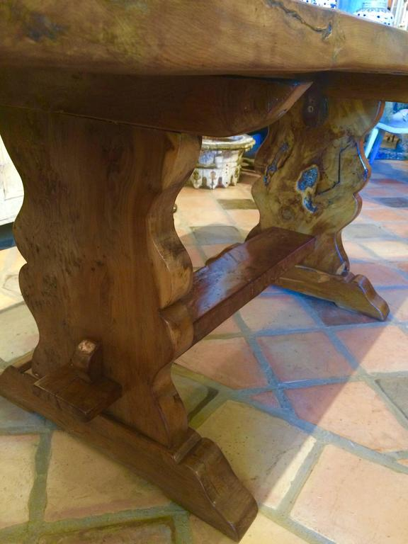 Baroque Extremely Rare Burled Yew Wood English Trestle Table For Sale